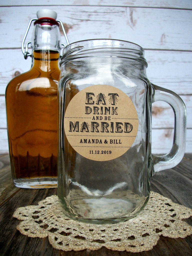 Custom Eat Drink & Be Married Wedding Favor Alcohol Bottle & Beverage Labels | CanningCrafts.com
