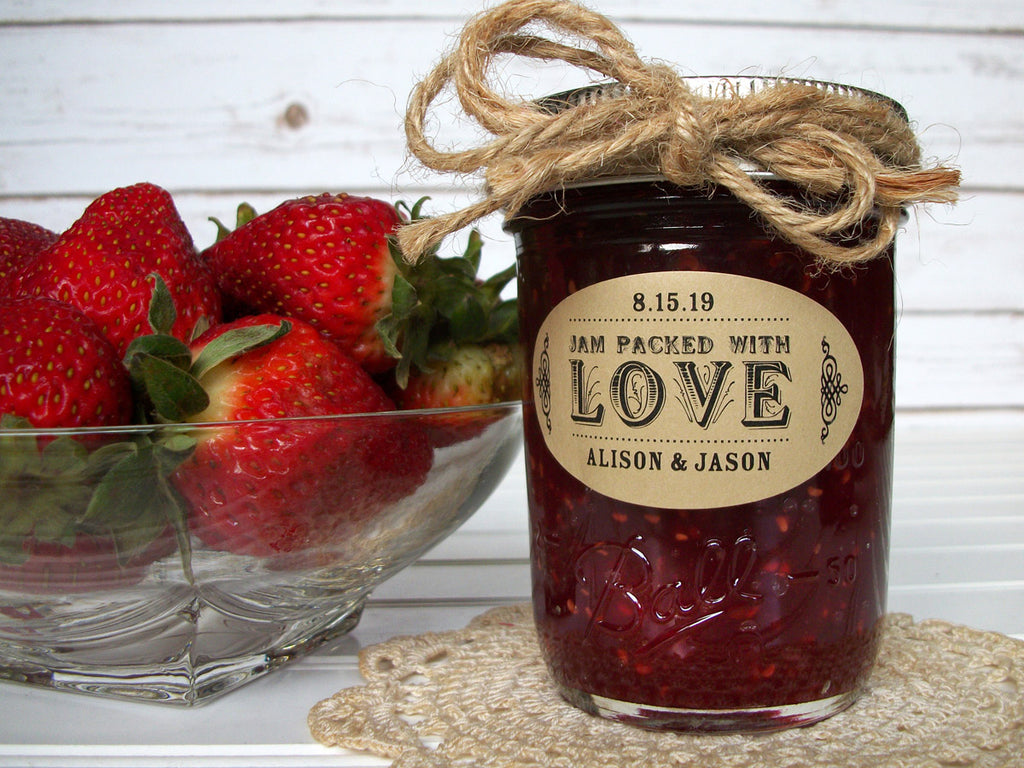 Custom Jam Packed with Love Oval Wedding Jam Jar Favor Labels | CanningCrafts.com