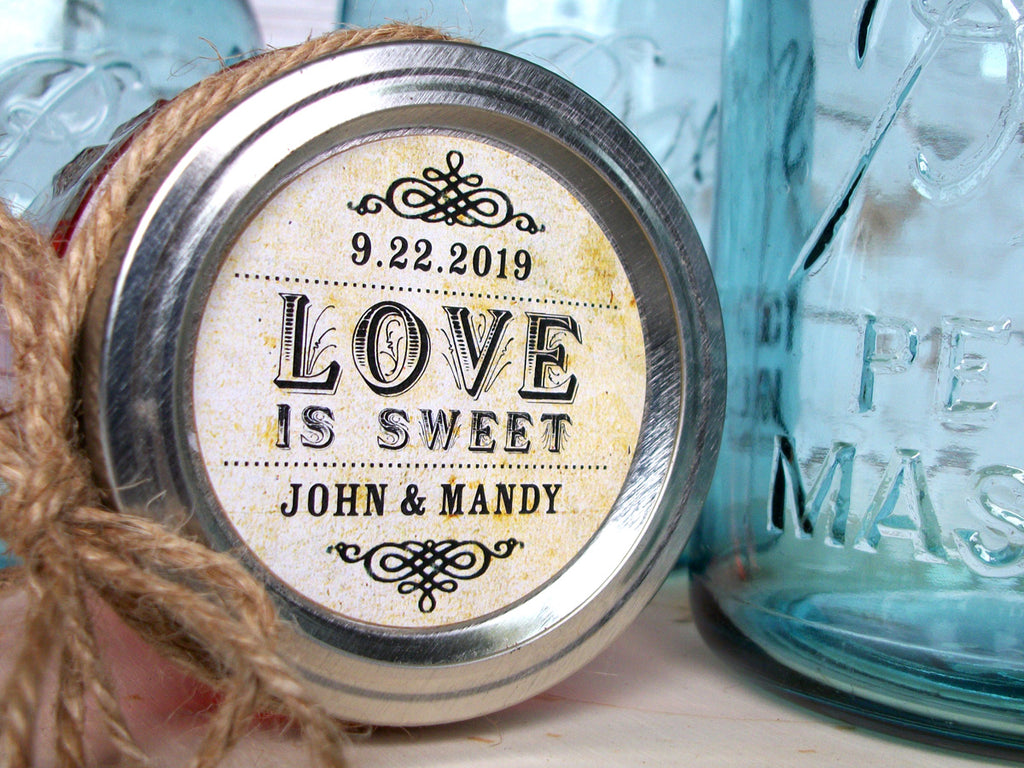 Custom Love is Sweet Wedding Jam Jar Favor Labels | CanningCrafts.com