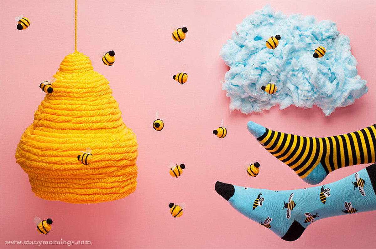 Honey Bee Socks by Many Mornings