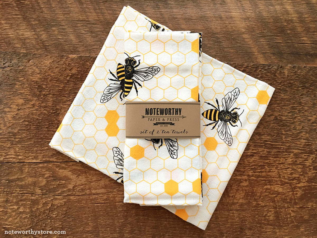 Honey Bee Kitchen Tea Towels by Noteworthy Paper Press