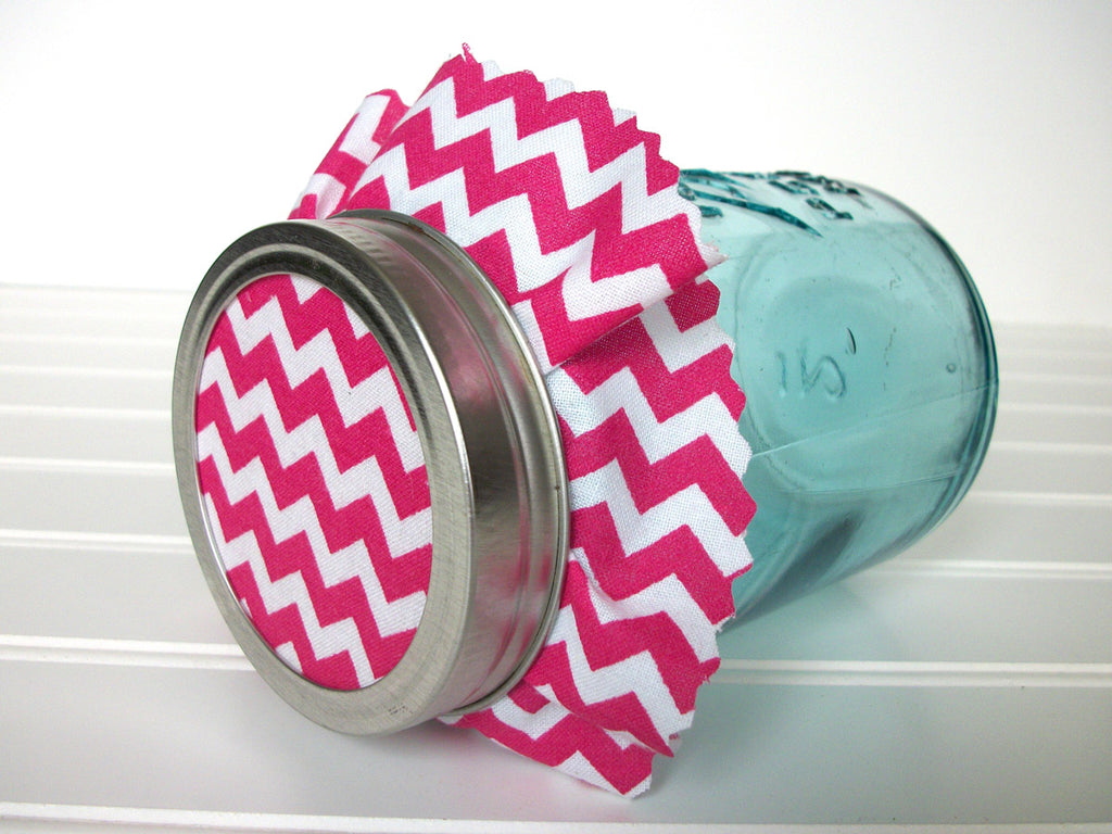pink chevron cloth jam jar covers | CanningCrafts.com