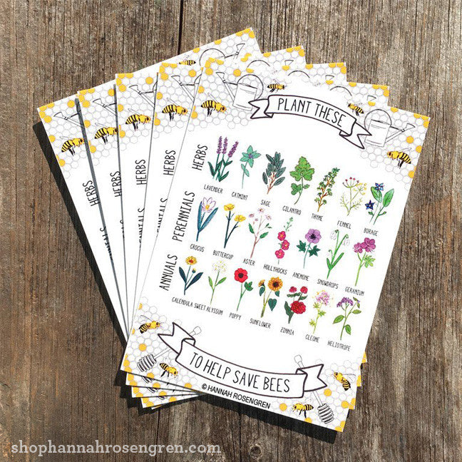 Plant These to Help Save Bees Postcards by Hannah Rosengren Studio