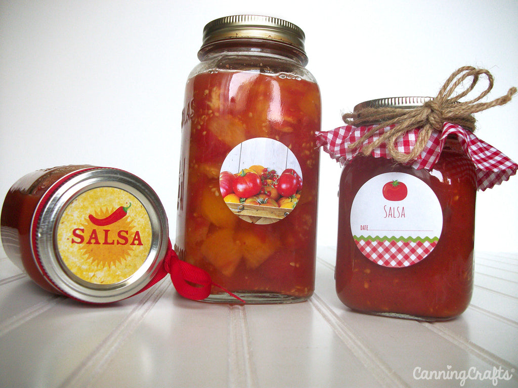 Tomato canning jar labels for home canning salsa & sauce | CanningCrafts.com