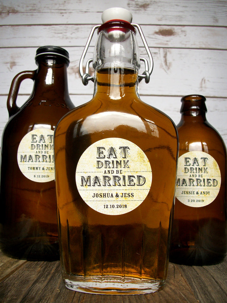 Custom Eat Drink & Be Married Wedding Alcohol Bottle Favor Labels | CanningCrafts.com