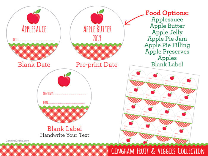 Gingham Apple Canning Labels | CanningCrafts.com