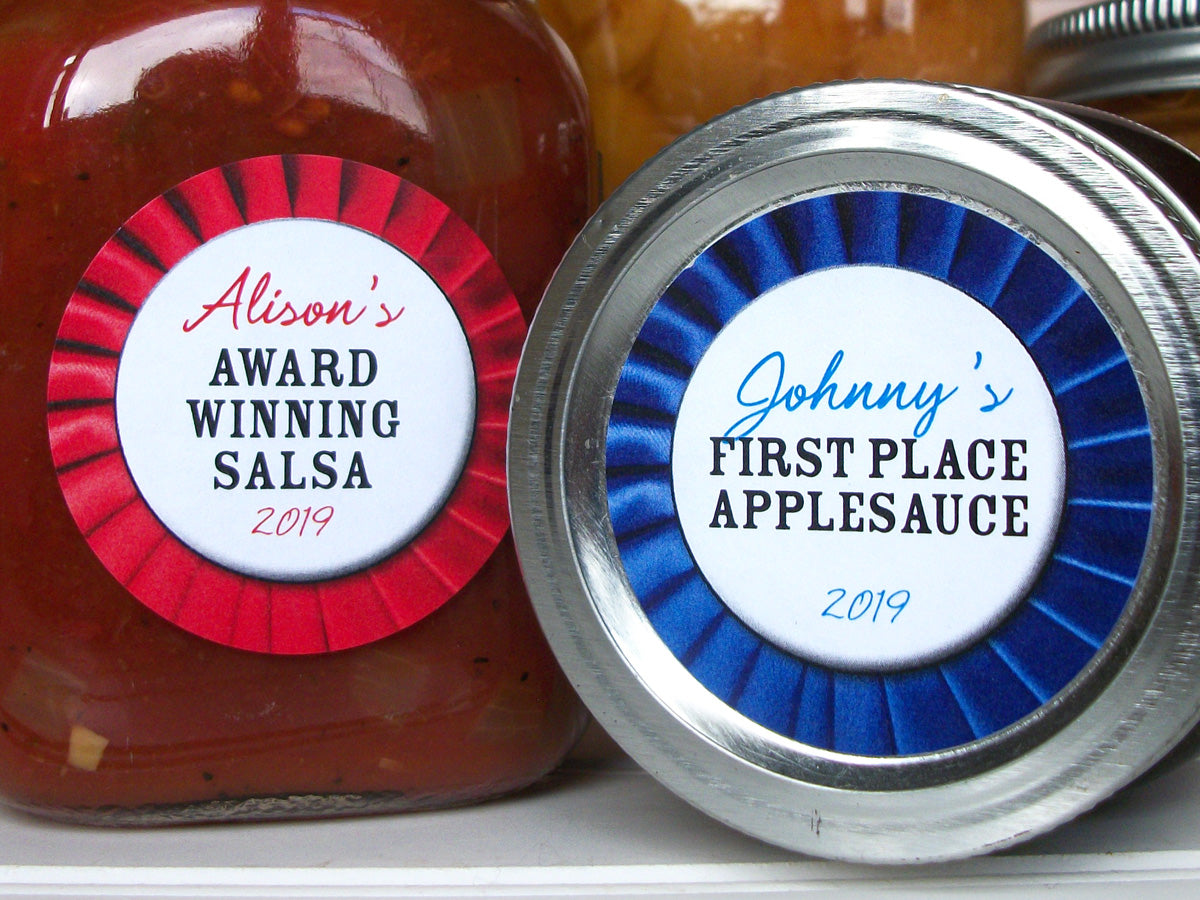 Custom Red or Blue Award Ribbon Canning Labels | CanningCrafts.com