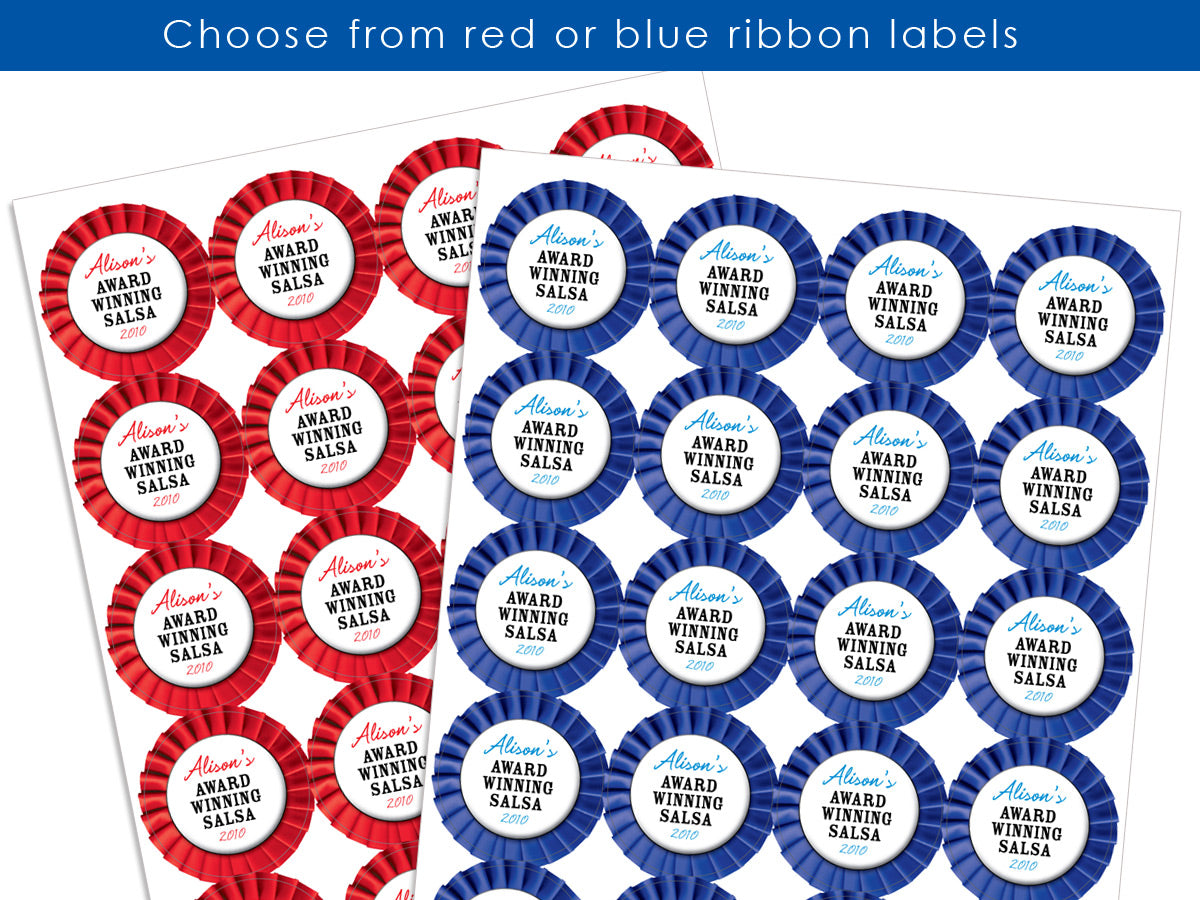 Custom Red or Blue Award Ribbon Canning Labels for fair & farmer's market entries | CanningCrafts.com