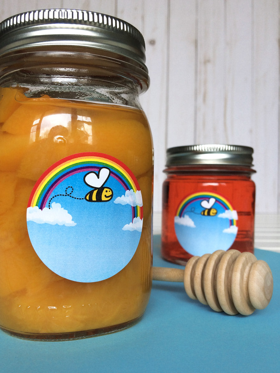 Bee Happy Mason Canning Jar Labels | CanningCrafts.com