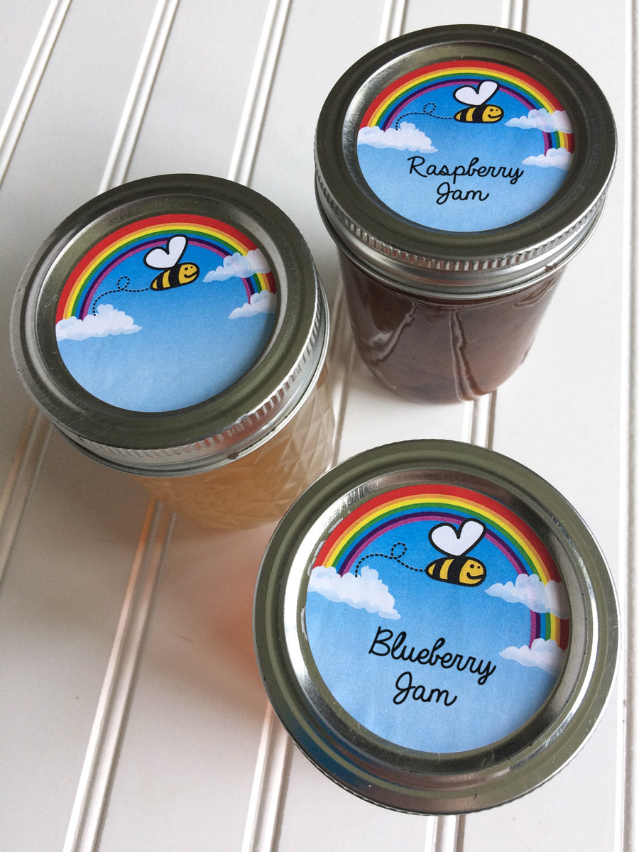 Bee Happy Mason Canning Jar Labels for regular and wide mouth lids | CanningCrafts.com