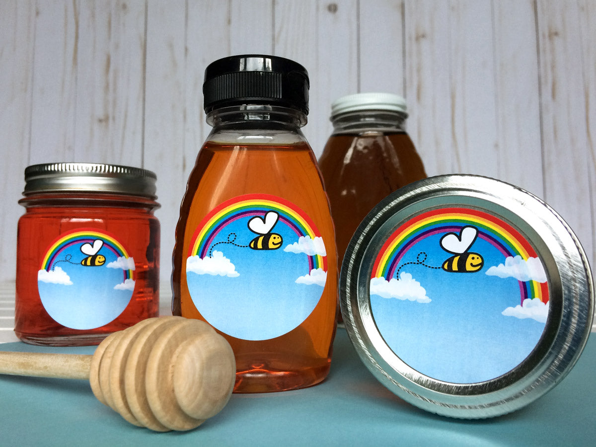 Bee Happy Honey Bottle and Canning Labels | CanningCrafts.com