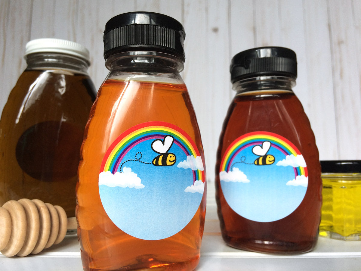 Bee Happy Honey Bottle Labels | CanningCrafts.com