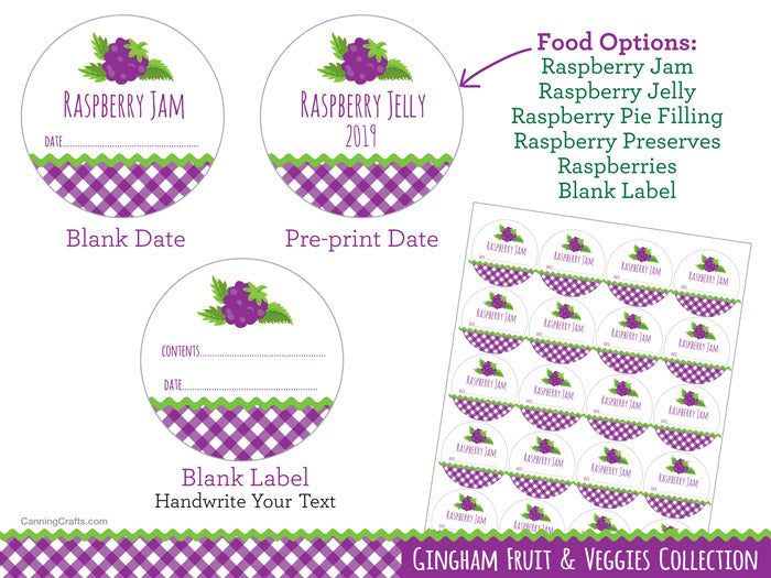Gingham Black Raspberry Canning Labels | CanningCrafts.com