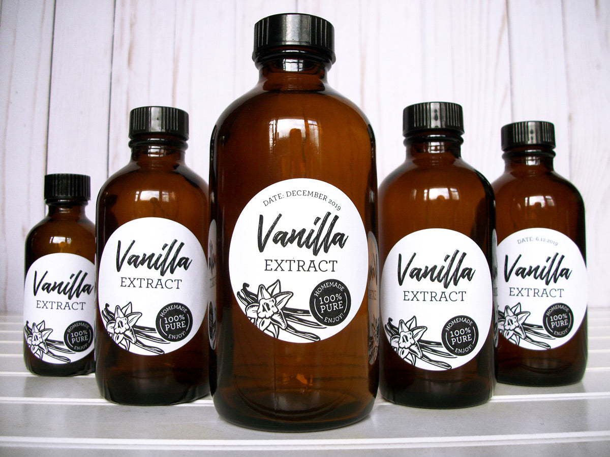 Black & White Vanilla Extract Bottle Labels | CanningCrafts.com