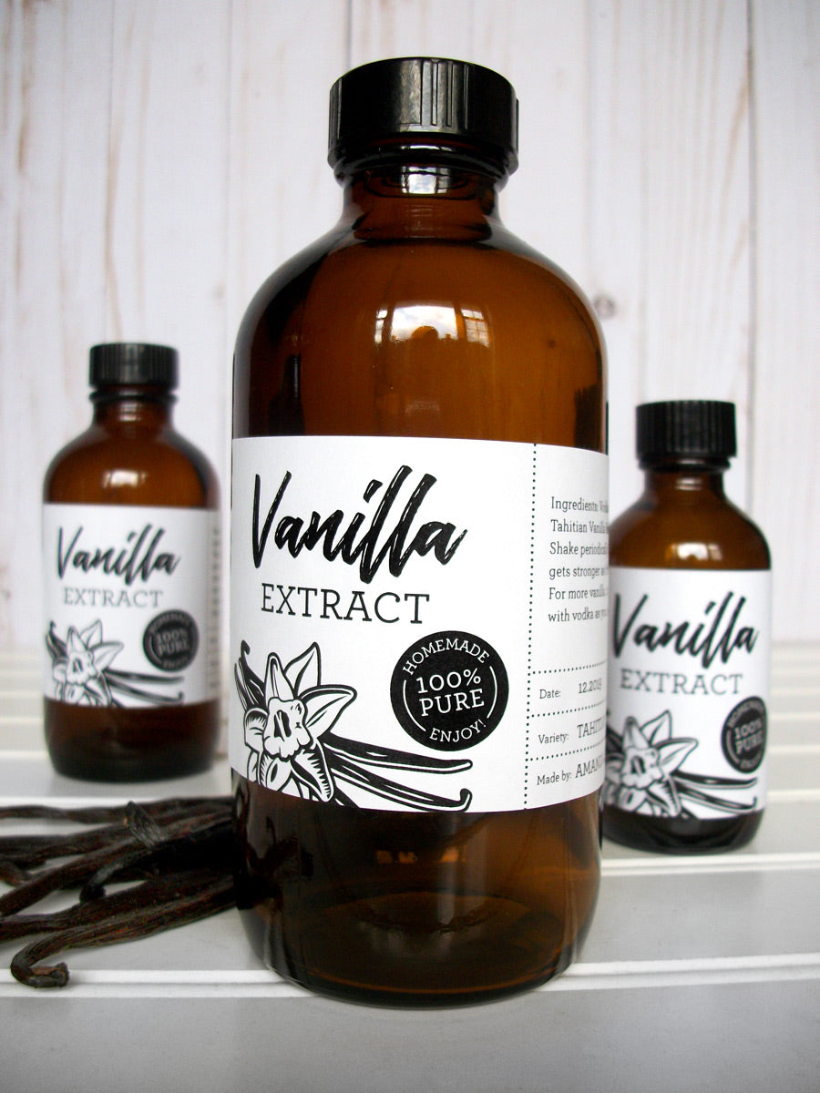 Custom Black & White Vanilla Extract Rectangle Bottle Labels | CanningCrafts.com