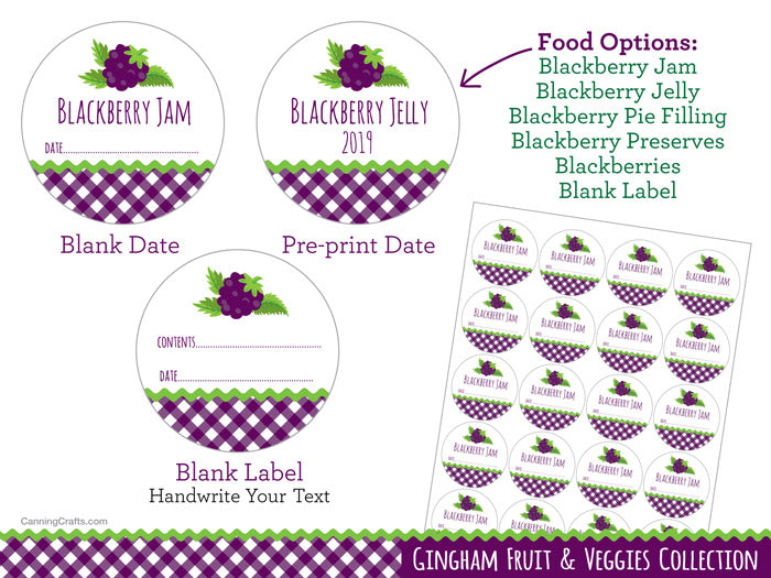 Gingham Blackberry Canning Labels | CanningCrafts.com