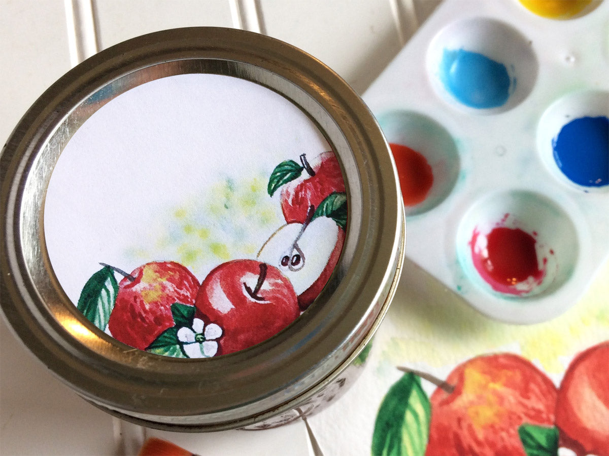 Watercolor Apple Canning Labels | CanningCrafts.com
