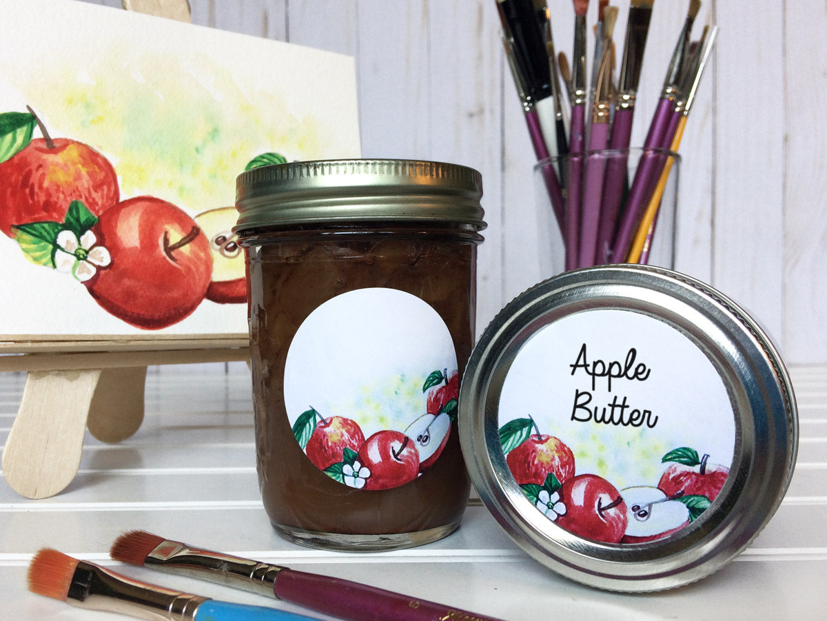 Watercolor Apple Canning Labels for applesauce or butter | CanningCrafts.com