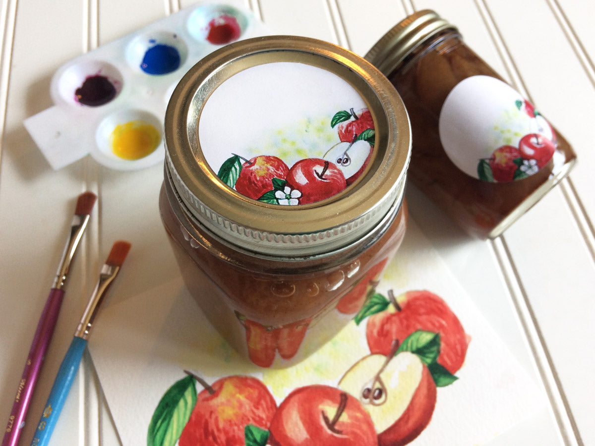 Watercolor Apple Canning Labels for regular or wide mouth mason jar lids | CanningCrafts.com
