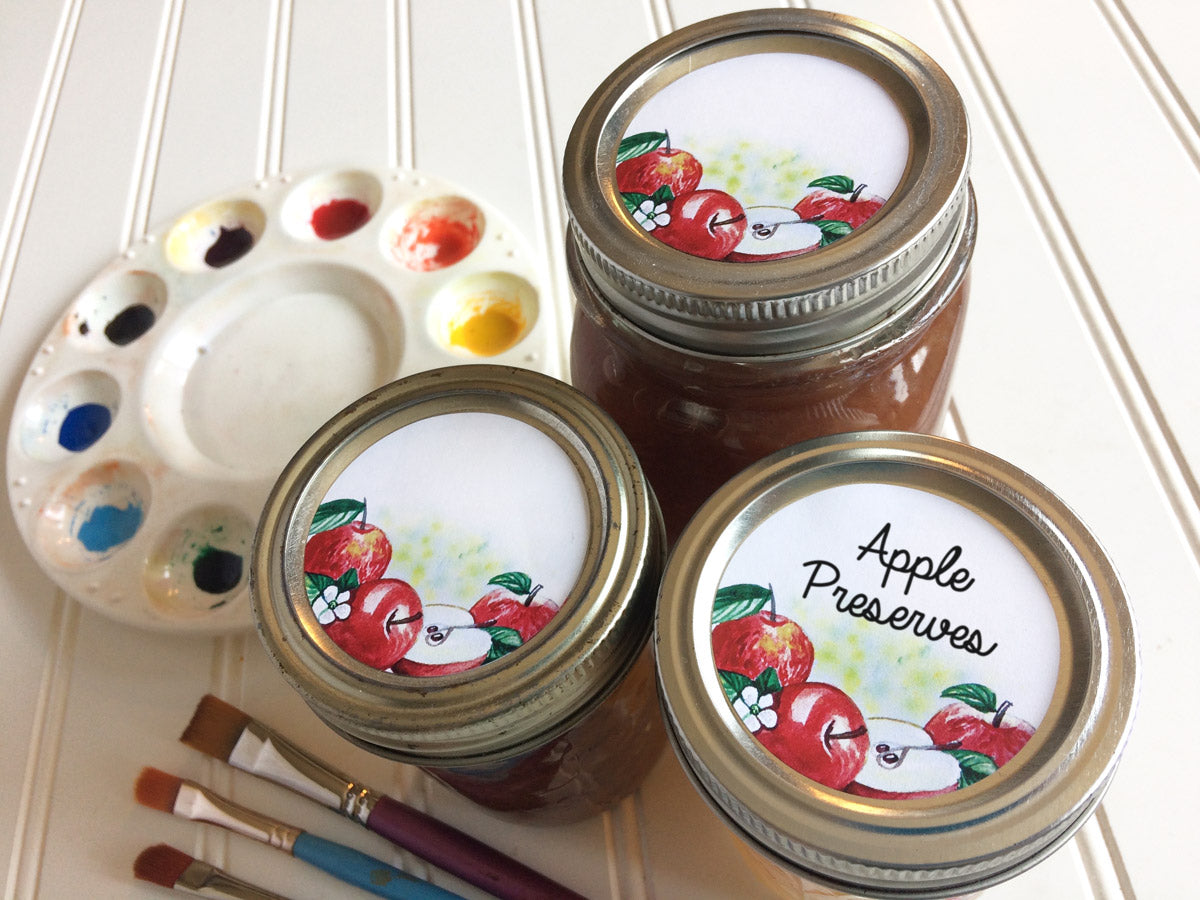 Watercolor Apple Mason Canning Jar Labels | CanningCrafts.com