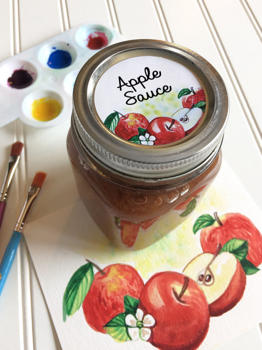 Watercolor Apple Canning Labels for applesauce, jam, jelly, preserves, or butter | CanningCrafts.com