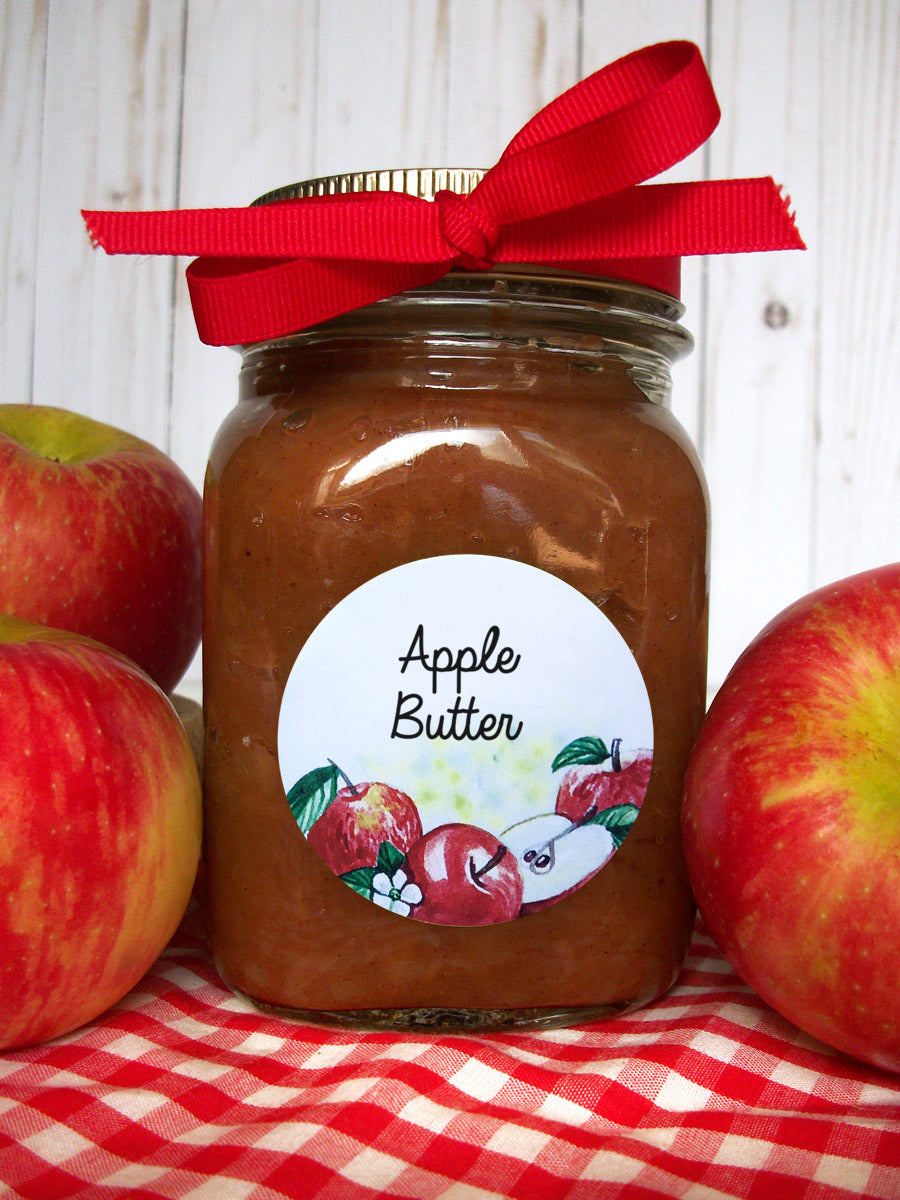 Watercolor Apple Canning Labels for home preserved apple butter  | CanningCrafts.com