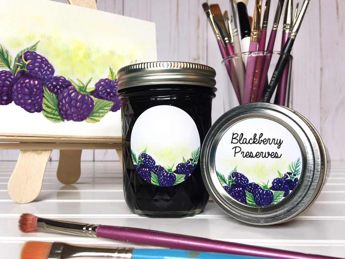 Watercolor Blackberry Canning Labels for jam, jelly, and preserves | CanningCrafts.com