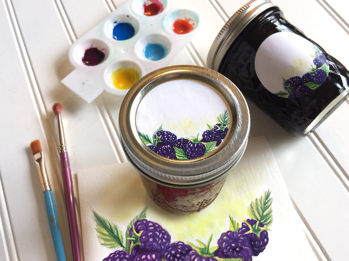 Watercolor Blackberry Mason Canning Jar Labels for jam, jelly, and preserves | CanningCrafts.com