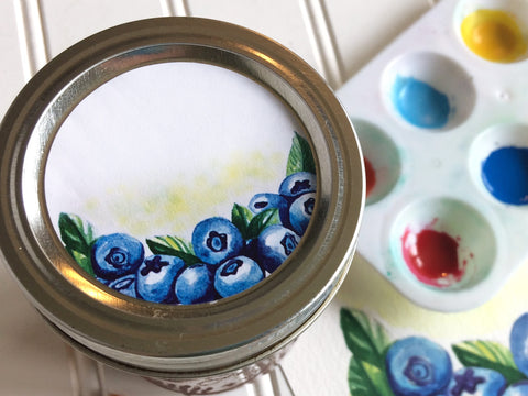 Watercolor Blueberry Canning Labels | CanningCrafts.com