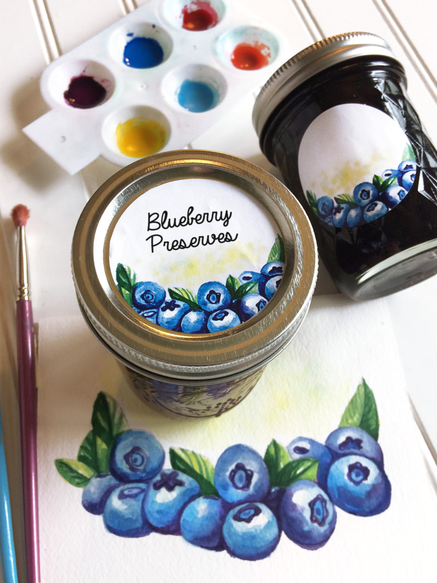 Watercolor Blueberry Canning Labels fit regular and wide mouth mason jar lids | CanningCrafts.com