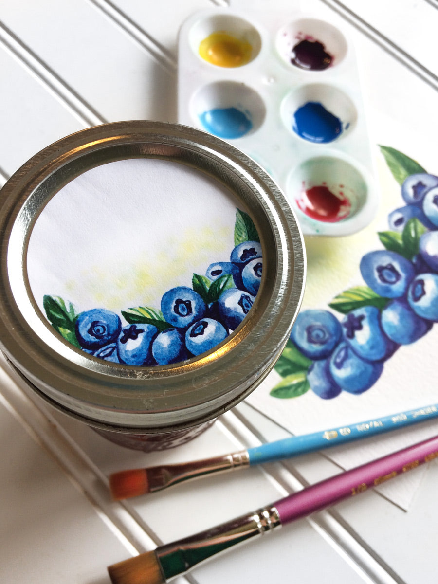 Watercolor Blueberry Jam and Jelly Jar Labels for Home Canning | CanningCrafts.com