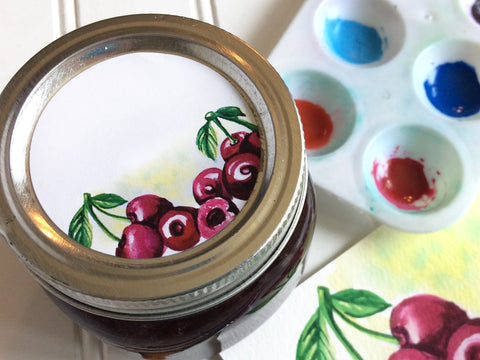 Watercolor Cherry Canning Labels | CanningCrafts.com