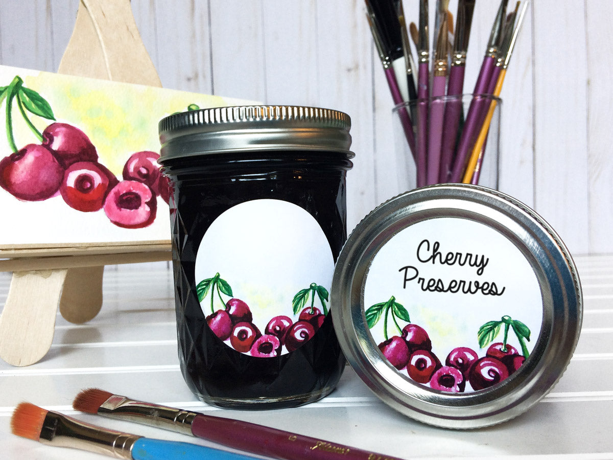 Watercolor Cherry Jam, Jelly, and Preserves Canning Labels | CanningCrafts.com