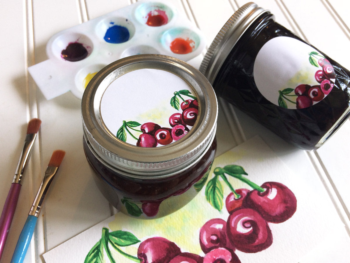 Watercolor Cherry Canning Labels for Jam, Jelly, Preserves, or Pie Filling | CanningCrafts.com