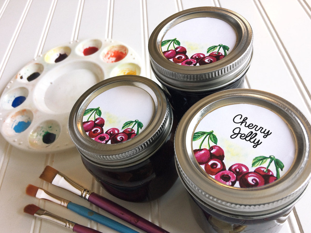 Watercolor Cherry Canning Labels for regular and wide mouth mason jar lids  | CanningCrafts.com