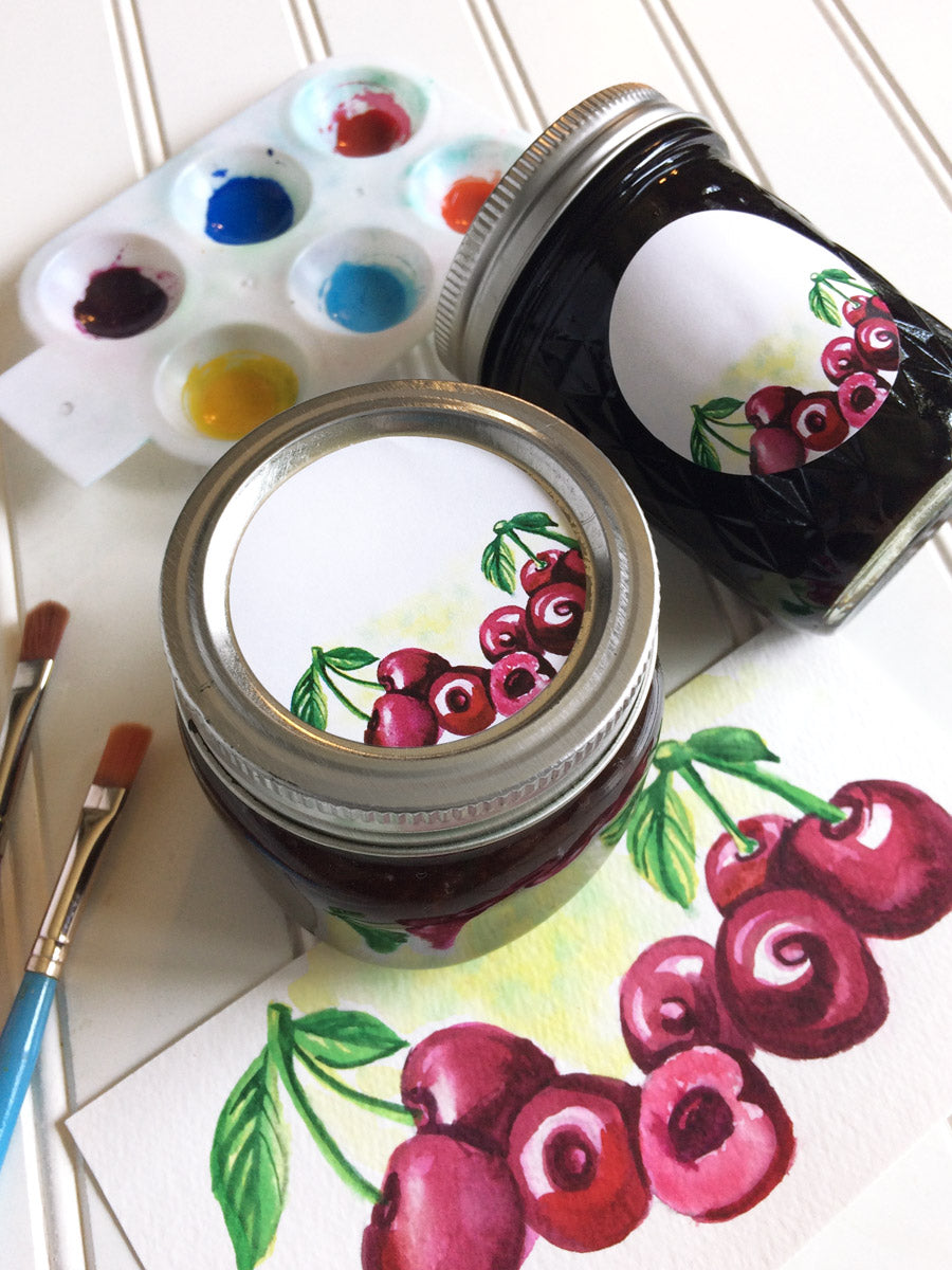 Watercolor Cherry Canning Labels for home canned jam, jelly, preserves, or pie filling  | CanningCrafts.com