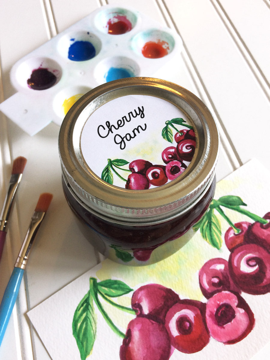 Watercolor Cherry Jam and Jelly Jar Labels for regular and wide mouth mason jar lids | CanningCrafts.com