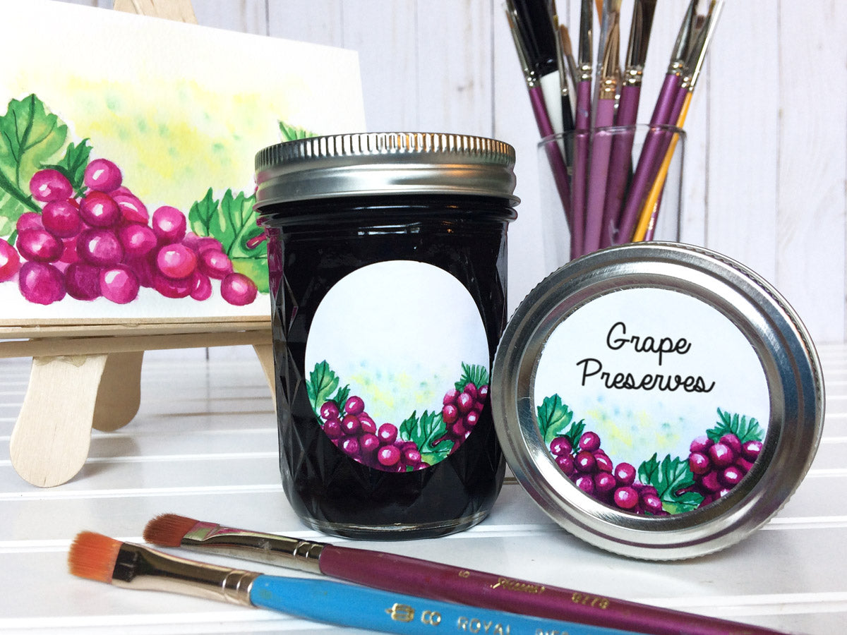 Watercolor Grape Canning Labels for jam, jelly, preserves, and juice  | CanningCrafts.com
