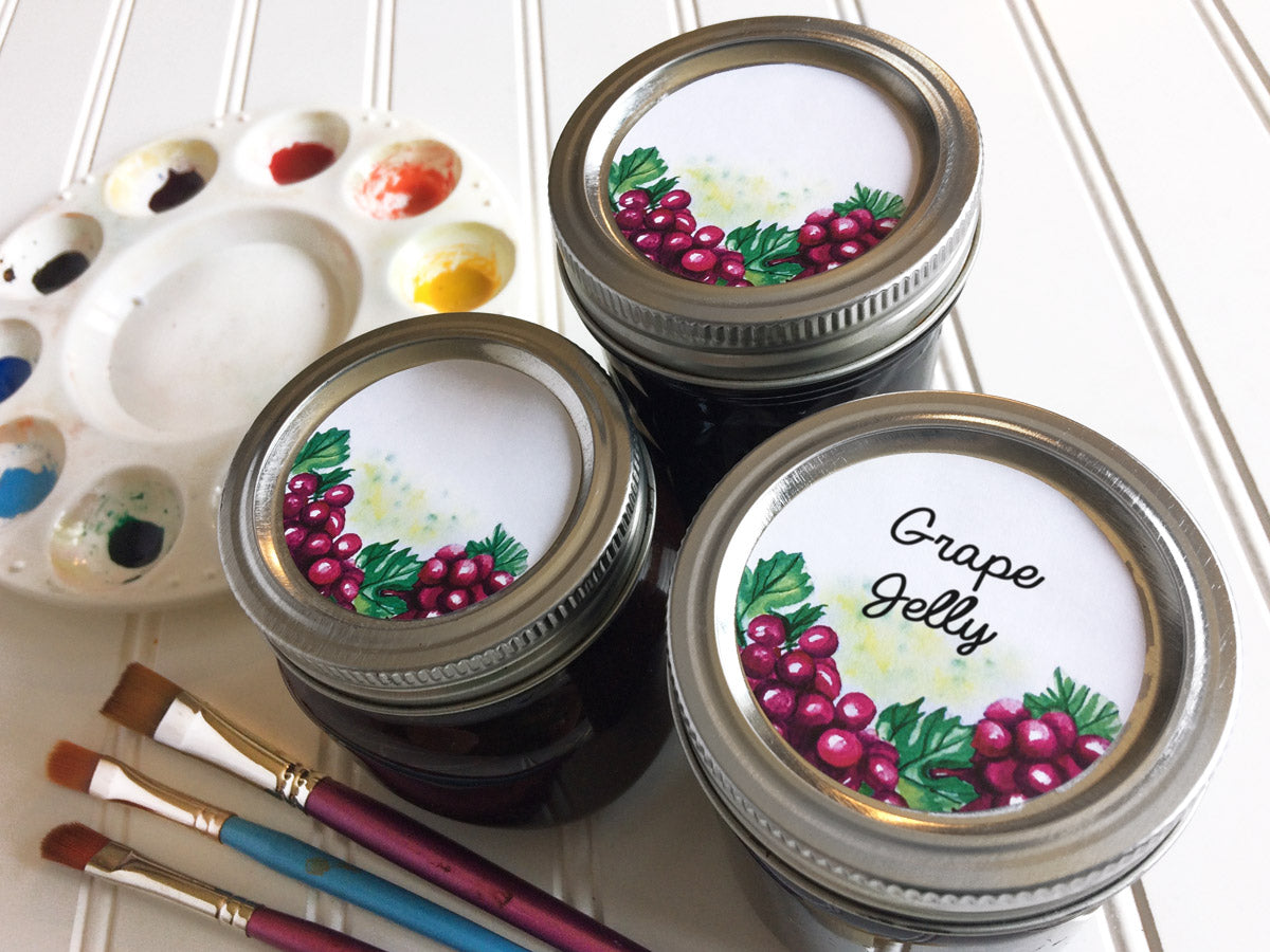 Watercolor Grape Canning Labels for jelly, jam, and preserves | CanningCrafts.com