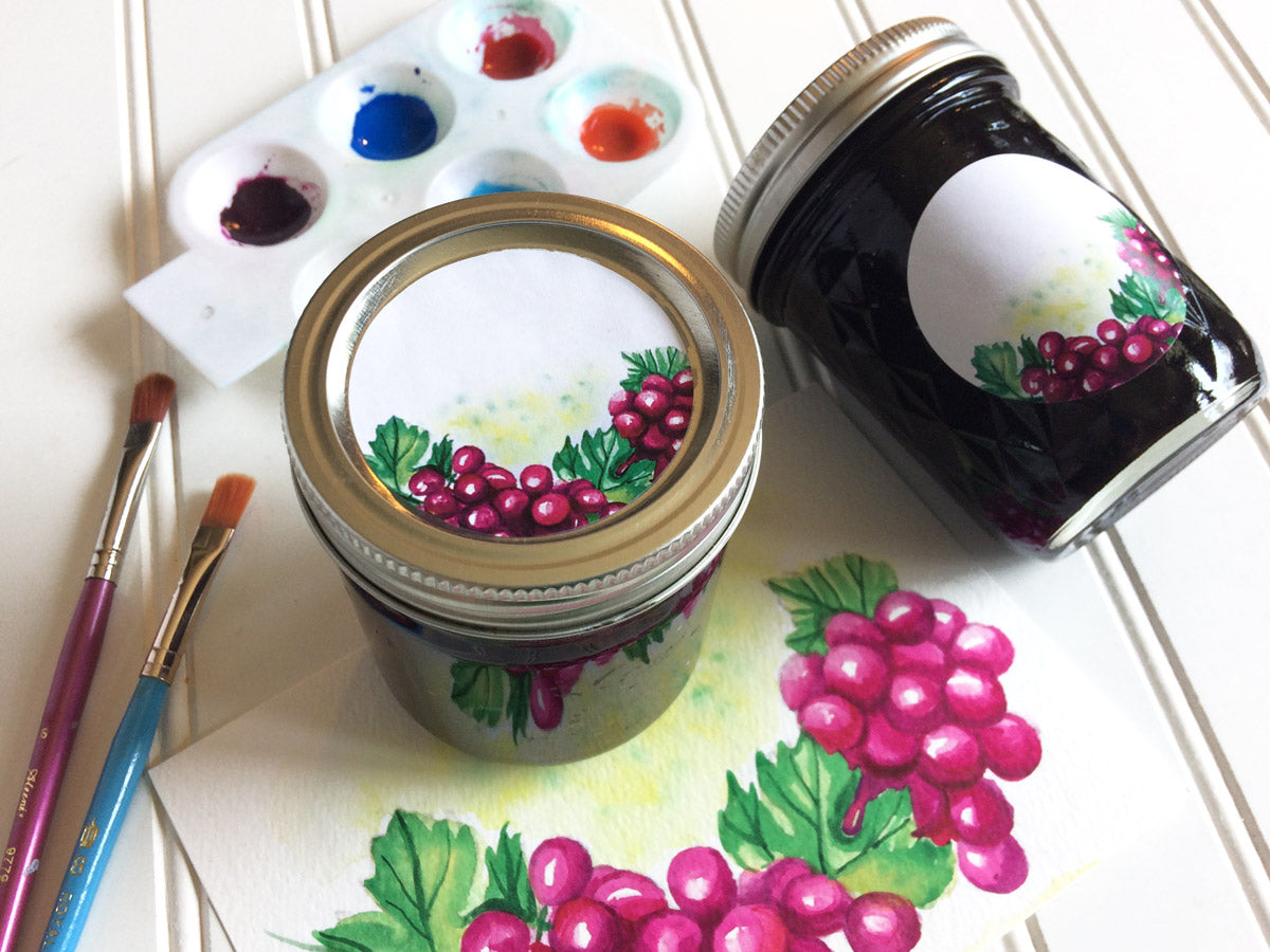 Watercolor Grape Canning Jar Labels | CanningCrafts.com