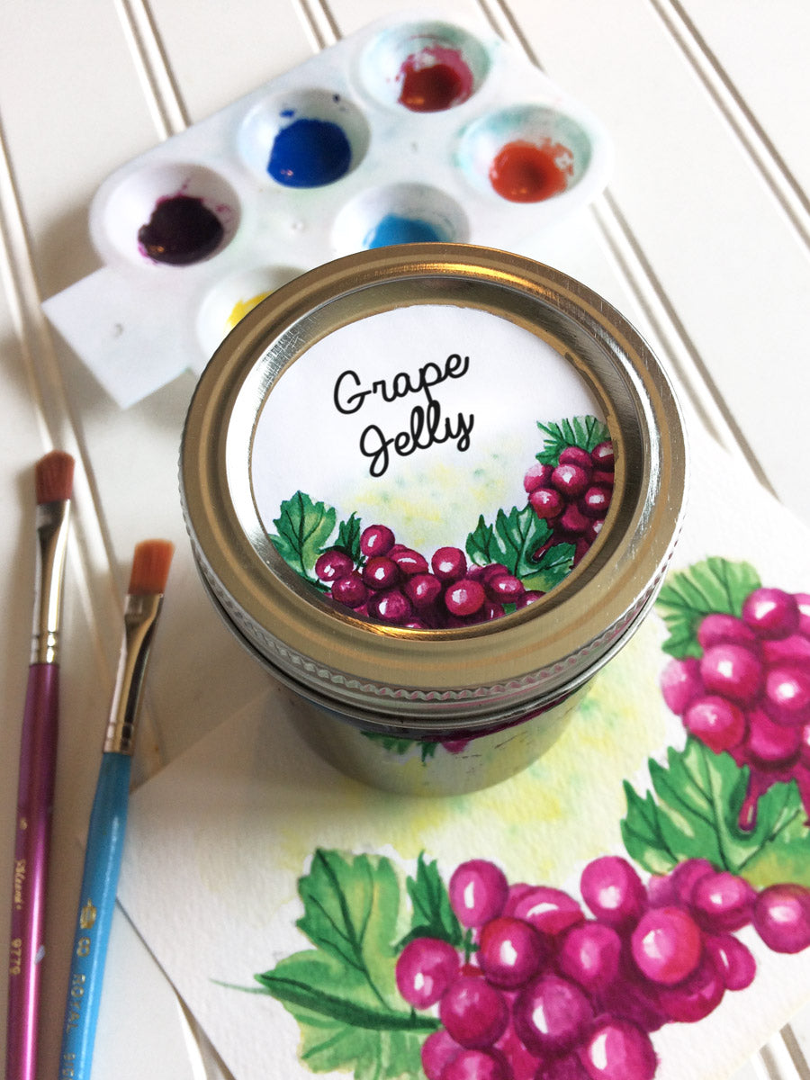 Watercolor Grape Jelly Canning Jar Labels | CanningCrafts.com