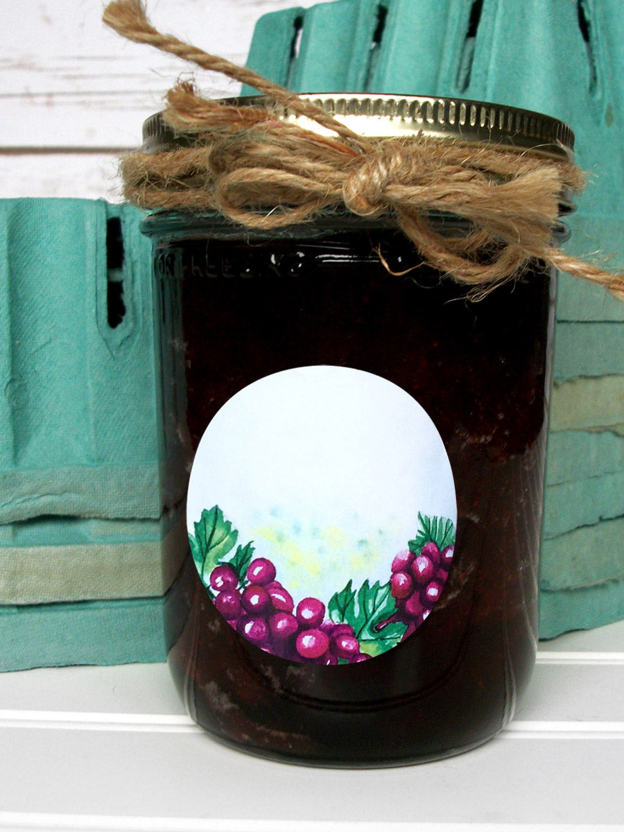 Watercolor Grape Jam and Jelly Mason Canning Jar Labels | CanningCrafts.com