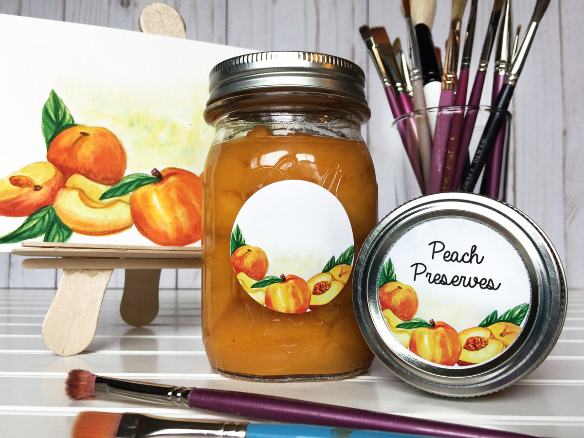 Watercolor Peach Mason Canning Jar Labels for home preserved jam, jelly, preserves, or pie filling | CanningCrafts.com