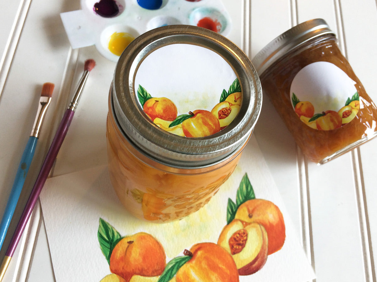 Watercolor Peach Canning Labels for regular and wide mouth mason jars | CanningCrafts.com