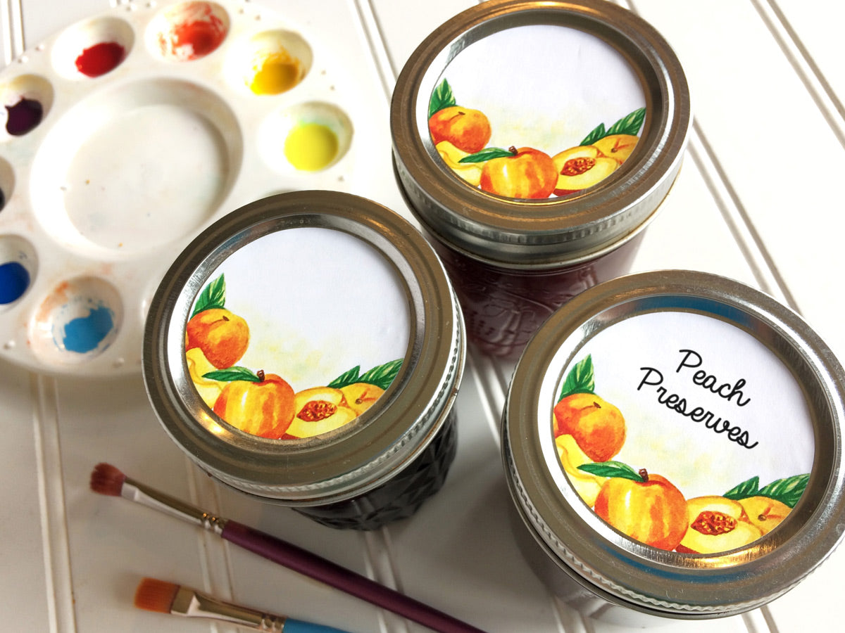 Watercolor Peach Canning Jar Labels for home preserved jam, jelly, preserves, or pie filling | CanningCrafts.com
