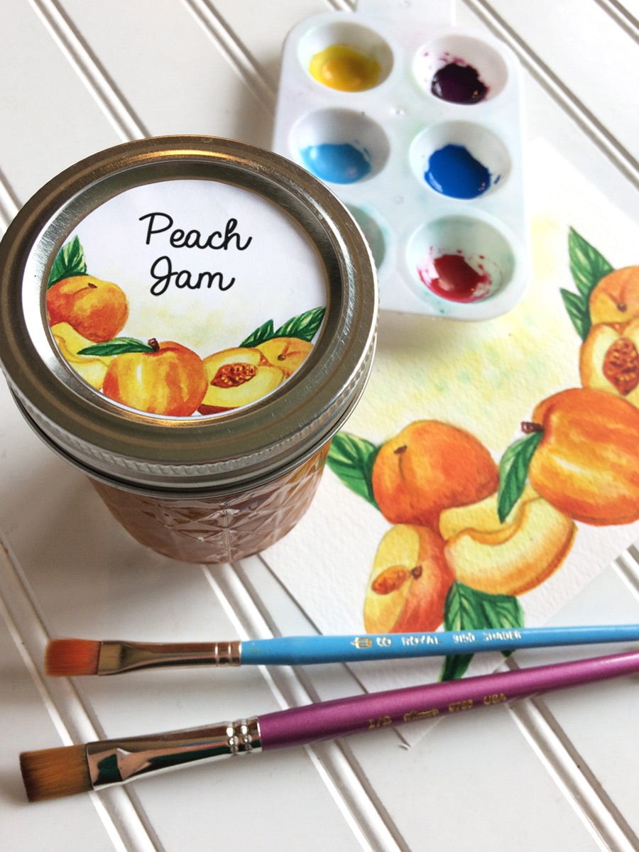 Watercolor Peach Jam Jar Labels for regular and wide mouth mason jars | CanningCrafts.com