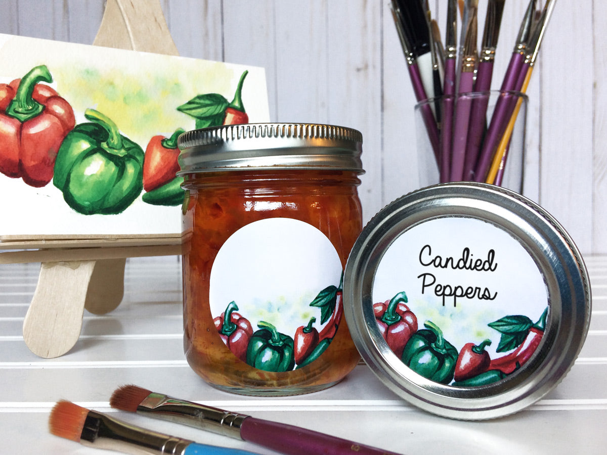 Watercolor Pepper Canning Labels for jelly, pickled and candied peppers | CanningCrafts.com