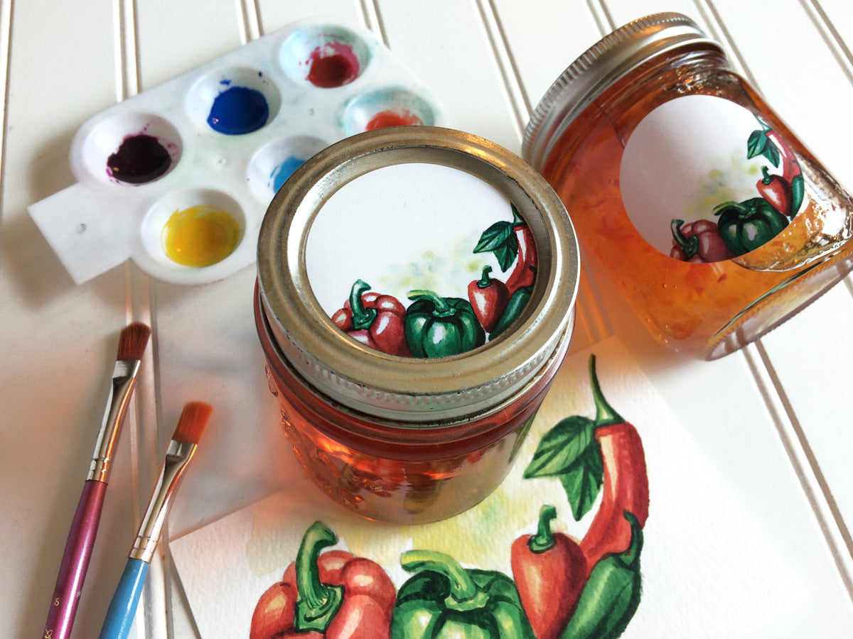 Watercolor Pepper Canning Labels | CanningCrafts.com