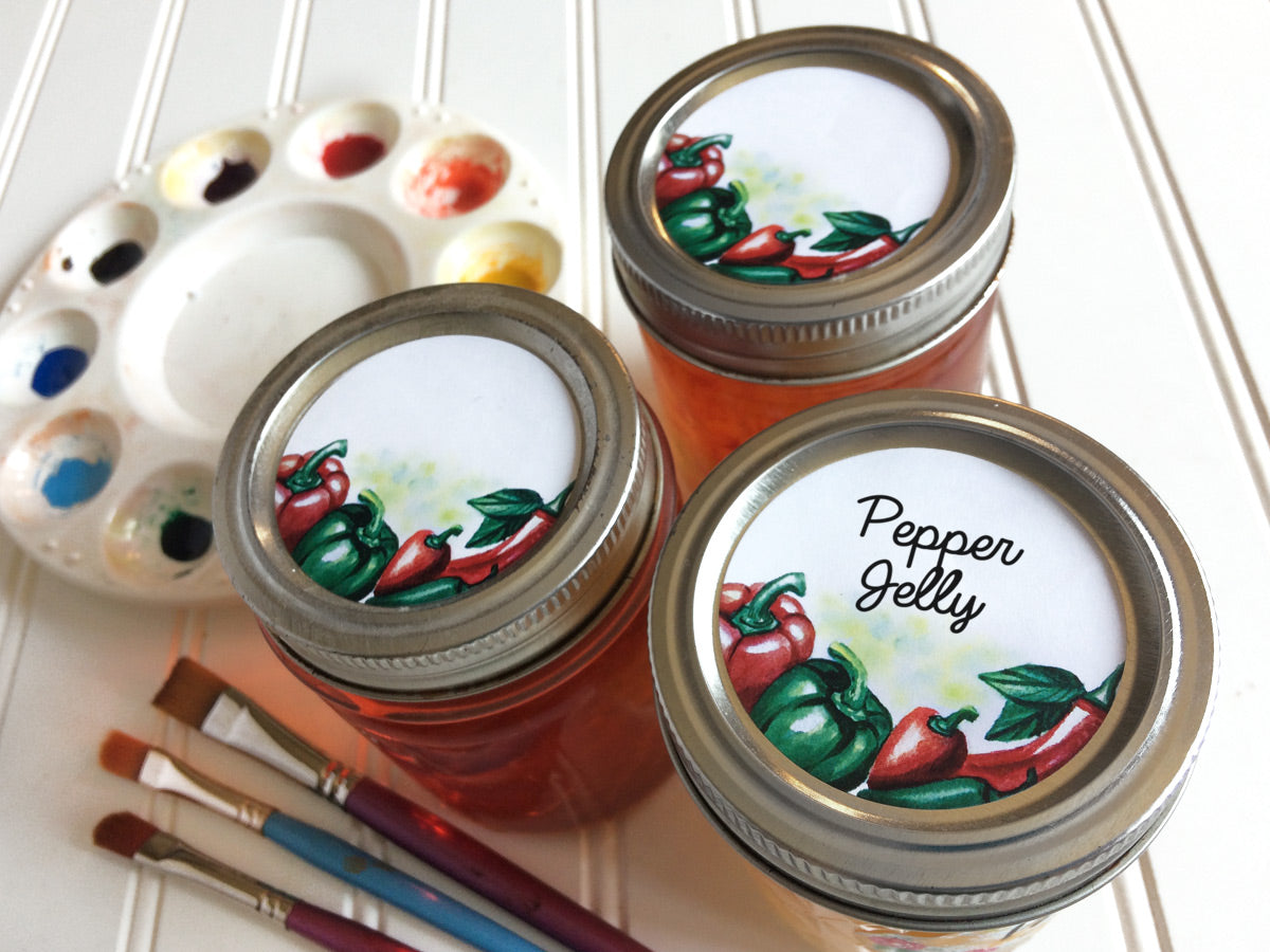 Watercolor Pepper Mason Canning Jar Labels for regular and wide mouth lids | CanningCrafts.com