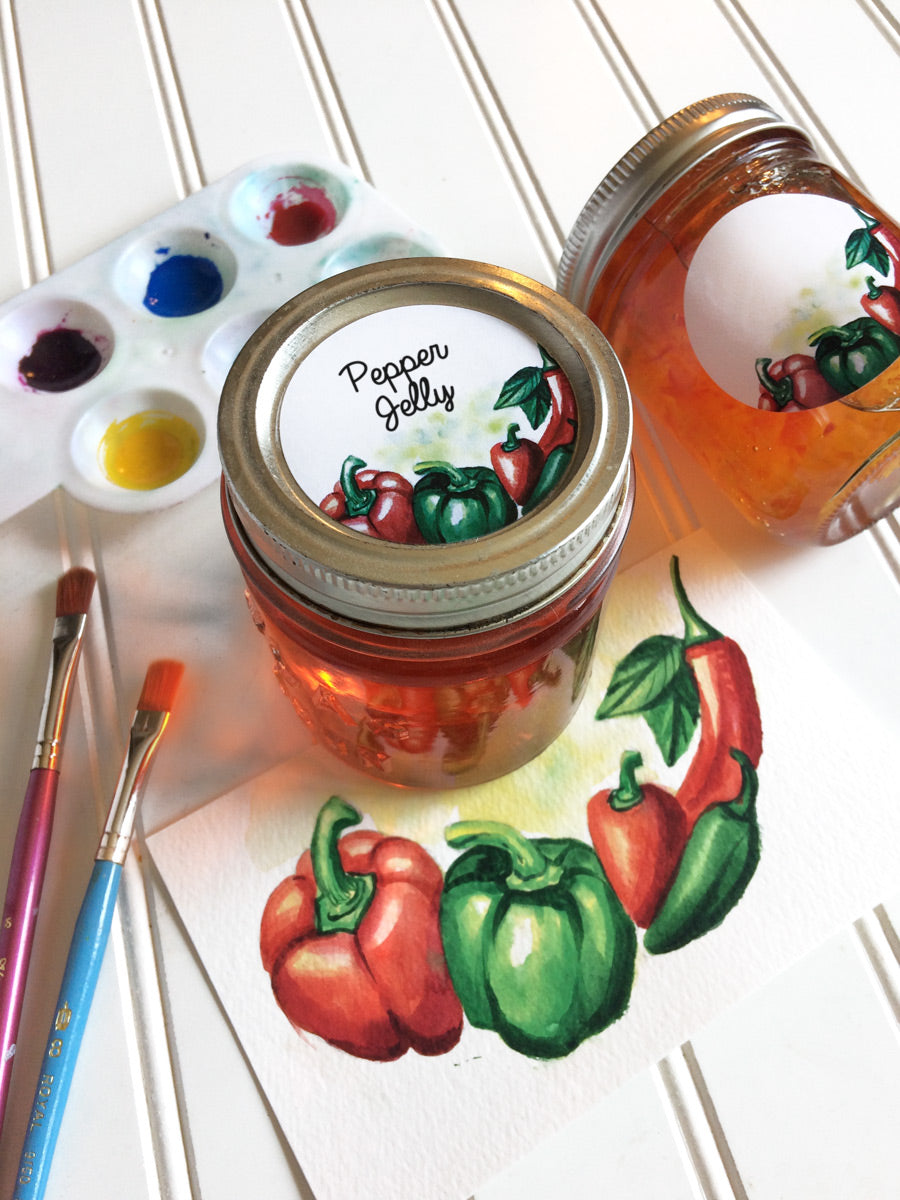 Watercolor Pepper Jelly Canning Labels  | CanningCrafts.com